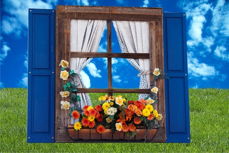 Country style window with flowers,planter, shutters and curtains,sky and grass photo