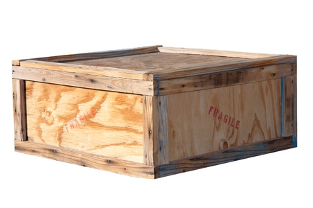 Shipping box, wooden crate with fragile stamp photo
