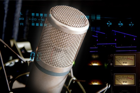 recording studio mic with vu meters collage Stock Photo