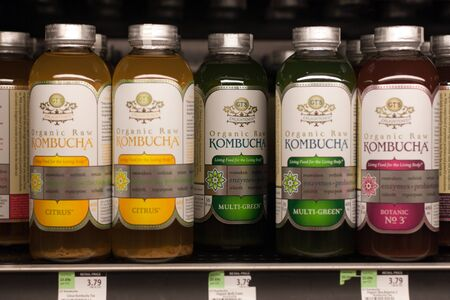 kombucha tea on store shelf in different flavours