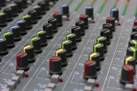 audio mixer: Audio mixer mixing board fader and knobs