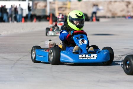 race car driver: LAS VEGAS NEVADA - February 04:Junior Go Kart race at the Las Vegas Speedway on May 12, 2008 in Las Vegas Nevada.