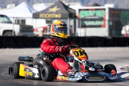 LAS VEGAS NEVADA - February 04: Go Kart race at the Las Vegas Speedway on May 12, 2008 in Las Vegas Nevada.