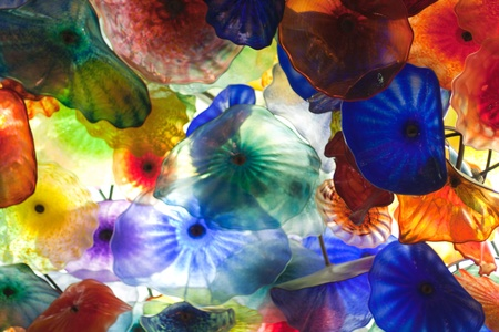 Glass floral background colorful flowers on ceiling Stock Photo
