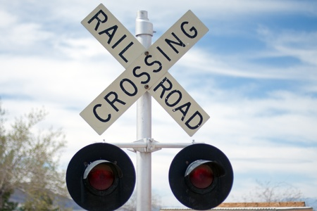 wood railroad: Vintage Rail Road Crossing Sign with red lights