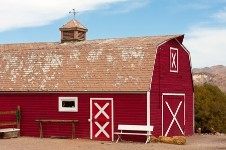 Old Red Barn with Bench and Well