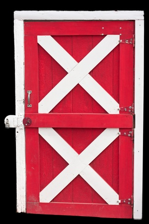 Barn Door locked, isolated in red and white photo