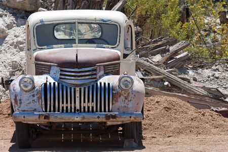 old junk car in the nevada desert in Nelson, Eldorado Canyon Stock Photo - 13455799