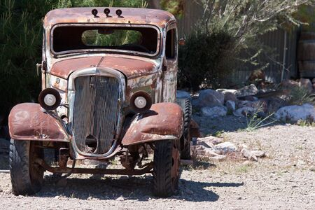old junk car in the nevada desert in Nelson, Eldorado Canyon