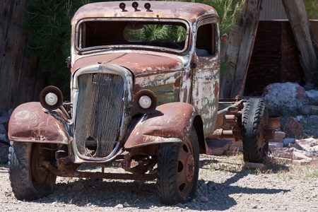 eldorado: old junk car in the nevada desert in Nelson, Eldorado Canyon