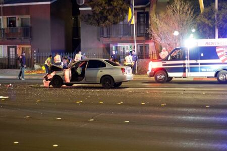 Las Vegas, NV, USA - FEBRUARY 28: Collision of 2 cars on Sahara road at 7pm, February 28 th, 2012 in Las Vegas, NV.