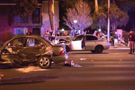 Las Vegas, NV, USA - FEBRUARY 28: Collision of 2 cars on Sahara road at 7pm, February 28 th, 2012 in Las Vegas, NV.