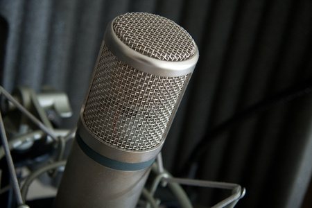 studio microphone with acoustic foam and stand