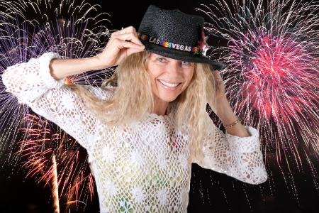 las vegas fireworks with girl and hat Stock Photo - 17658066