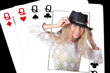 4 of a kind: las vegas deck of cards with real  woman queen