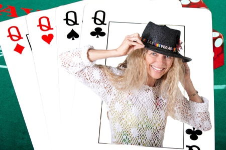 4 of a kind: las vegas deck of cards with real human queen