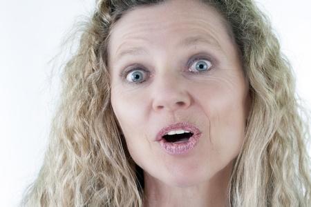 Mature Woman surprised portrait head shot