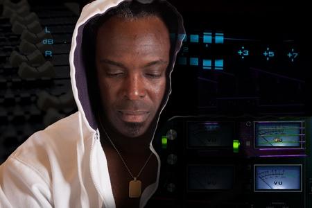 Black artist in recording studio Stock Photo