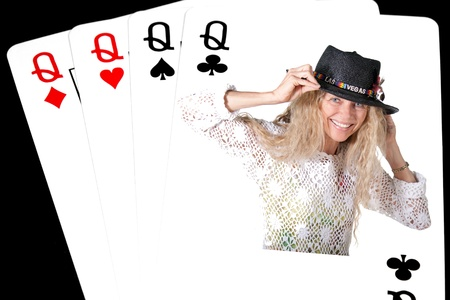 pokerhand 4 queens on black background Stock Photo - 17796581