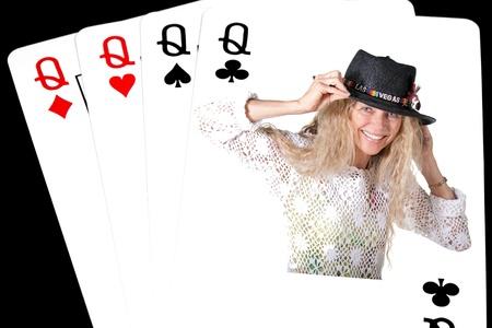pokerhand 4 queens on black background Stock Photo - 17796581