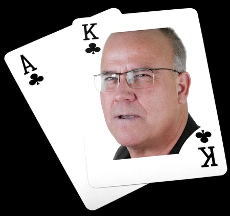 pokerhand. ace king of clubs, big slick with human photo