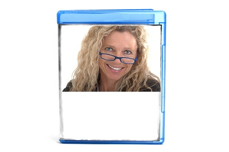 Blue DVD case, you can insert your own cover or text with picture Stock Photo - 17796583