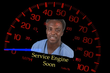 red speedometer on black background with mechanic, warning about service engine light photo