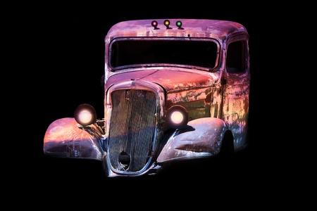 junk car: old rusty junk car in vivid colors