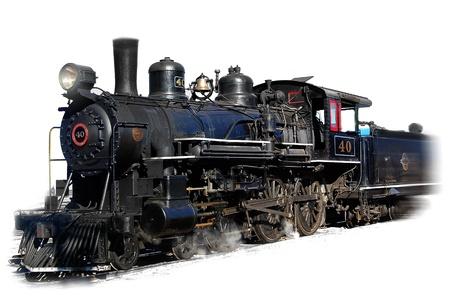 locomotora: Locomotora de vapor del motor en el fondo blanco