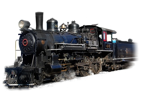railway history: Steam engine locomotive on white background Stock Photo