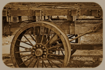 old photograph: Old Western Wagon Sepia Photograph