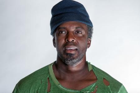 African American homeless man photo