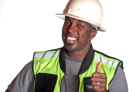 safety vest: Construction worker giving thumb up