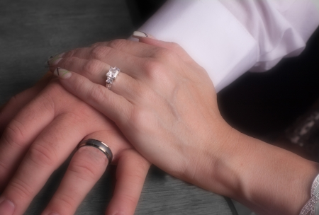 vow: Male and Female Hand with wedding rings