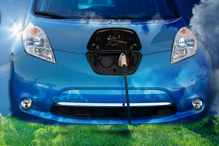 Electric Hybrid Car, plugged in Stock Photo