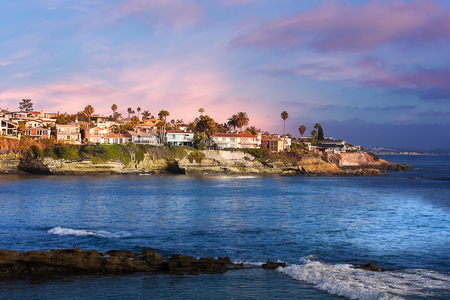 The beach in La Jolla, California shortly before sunset