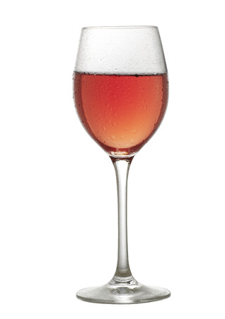 Rose wine glass on a white background