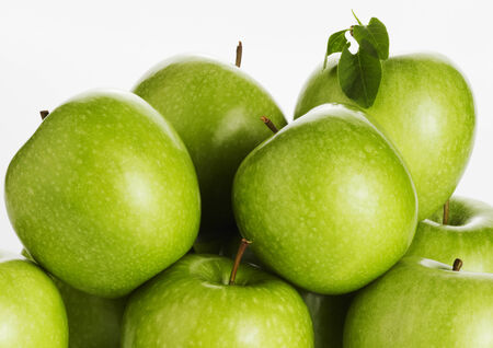 exempted: Green apples on a white background