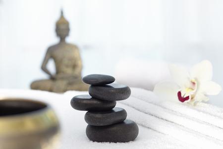singing bowl massage: Bhudda and hot stones, singing bowl Massage Chair Stock Photo