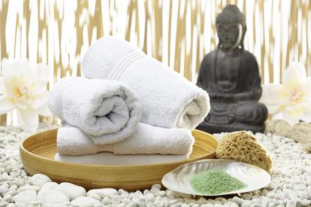 Bath accessories with buddha statue