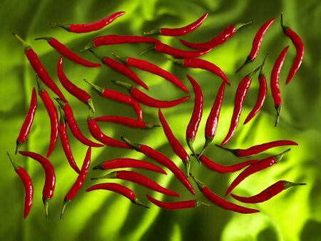 Red chilli pods on a white background
