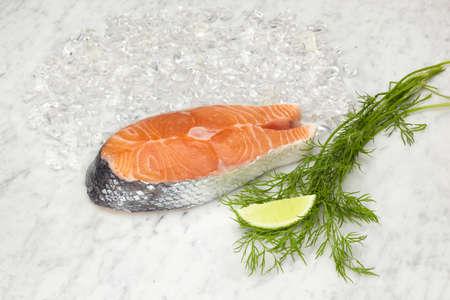 Salmon slice on marble slab