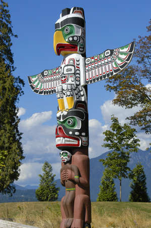 totem: A totem pole found in Vancouver Canada Stock Photo