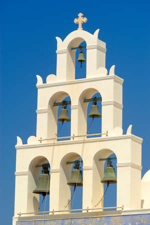 The bells of the Greek Orthodox Church on the island of Santorini that chime hourly