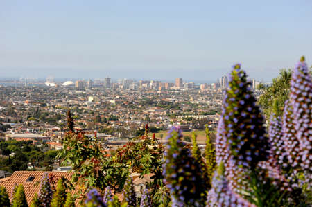 A panoramic city view of Long Beach, California from on top of Signal Hill on a day when the fog has cleared all he way to the ocean.