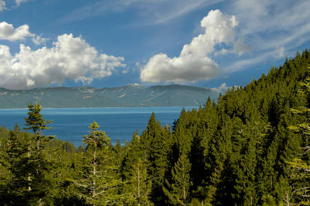 Beautiful white clouds hovering over Lake Tahoe on the California and Nevada border.