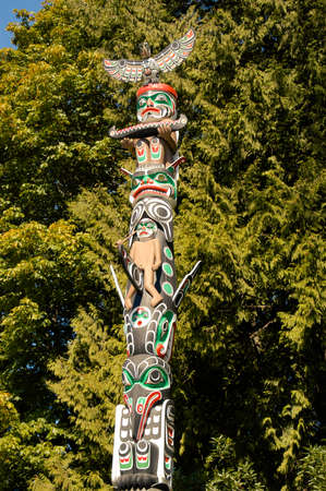 An Indian totem pole in Vancouver, Canada