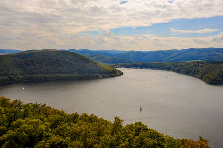 A beautiful day on the Edersee Reservoir in Hesse, Germany.