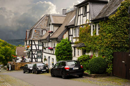 German wood-framed homes and flower boxes in the traditional old-world style.