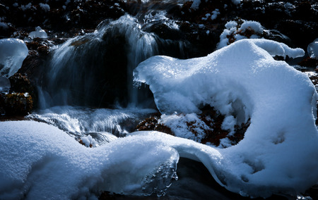 flowing water: flowing water in winter view Stock Photo